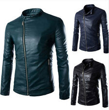 New Fashion Men Slim Inclined Buckle PU Leather Stand Collar Jacket Zipper Coat