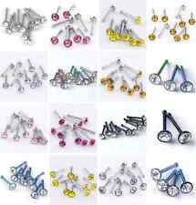 10pc 20G CZ Crystal Nose Nostril Stud Ring Bar Stainless Steel Body Piercing