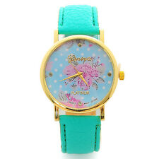 Fashion Womens Girls Leather Watch Rose Flower Watch Quartz Wrist Watches Gift