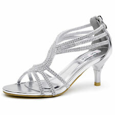 SheSole Sexy Womens Diamantes Evening Bridal Prom Strappy Mid Heels Dress Shoes