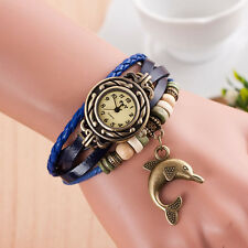 Woman Lady Watches Weave Around Quartz Leather Band Dolphin Bracelet Wrist Watch