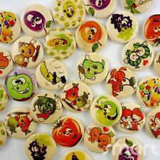 20/100pcs Assorted Brown Wood Fruit Round Buttons Lot 20mm Craft/kids Sewing