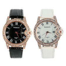 1PC Crystal Leopard Print Dial Quartz Analog Lady Wrist Band Casual Watch M69