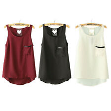 Casual Women's Pocket Chiffon Sleeveless Vest Shirt Tops Blouse Ladies Top M80