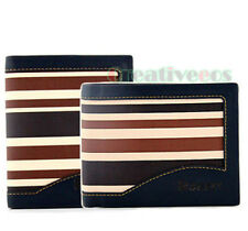 Men PU Leather Stripe Pattern Bifold Wallet Credit/ID Card Clutch Coin Purse New
