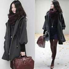 Gray Black Womens Hooded Belt Wool Blend Long Jacket Trench Coat Parka Outwear