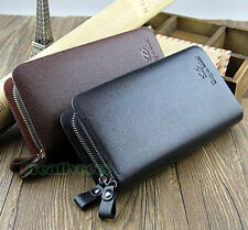 Men's PU Leather Double-Zipper Bifold Wallet Pocket Credit Card Clutch Purse New