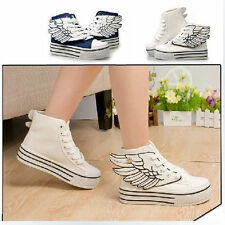 New Womens Fashion Lace Up Angel Wings High Platform High Top Canvas Sneakers