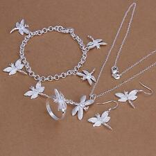Ladys Solid 925silver Dragonfly Bangle Bracelet Necklace Ring Earrings Fit Sets