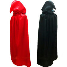 HALLOWEEN ADULT BLACK OR RED CAPE WITH CHOICE OF HOOD OR COLLAR STYLE