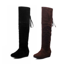 Sexy Womens Over Knee Faux Suede Stretch Thigh High Slouchy Flat Heel Boots Shoe