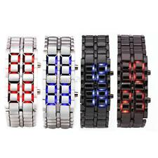 Women Men Volcanic Lava Iron Samurai Metal Faceless Bracelet LED Wrist Watch A98