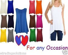 Ladies Hanky Hem Womens Sleeveless Scoop Neck Jersey Long Tunic Vest Top *hnky