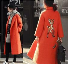 Fashion Womens Warm Wool Cashmere Long Winter Parka Coat Hooded Jacket Outwear