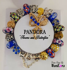 """Flowers & Butterflies"" Authentic Pandora Sterling Silver Chain w/ Charm/Bead"