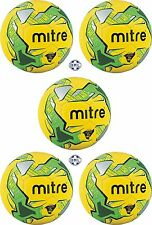 5 x MITRE IMPEL TRAINING FOOTBALLS - YELLOW/GREEN - Sizes 3, 4 and 5