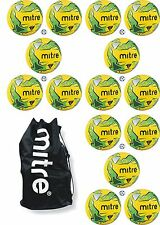 15 x MITRE IMPEL TRAINING FOOTBALLS + BALL SACK - YELLOW/GREEN - Sizes 3, 4, 5