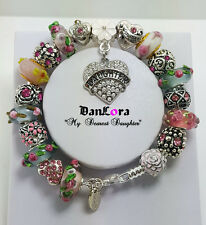 "Authentic Pandora Sterling Silver Chain w/ Euro Charms ""Pink Ribbons-AWARENESS"""