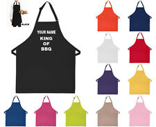 Personalised Custom Printed Apron Your Name King of BBQ / Queen of BBQ Apron