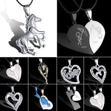 Unisex Womens Men's Horse Stainless Steel Pendant Necklace Leather Love Heart