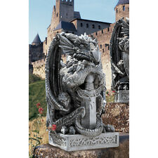 Legendary Loyal Castle Guard Dragon Statue with Sword on Celtic Knot Base