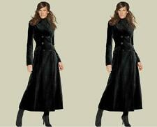 Extra Long Wool Blend Womens Coat Double Breasted Military Jacket Trench Outwear