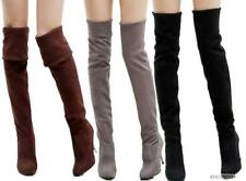 Stretch Womens Ladies High Heel Shoes Pull On Over Knee Boots US All Size Y041