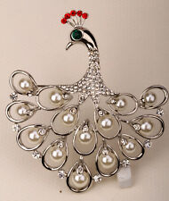 Big peacock brooch pin cute bling fashion jewelry gift for her WP06 dropshipping