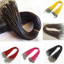 5/10/50/100pcs PU Leather Cord Necklace Lobster Clasp Braid Rope Round 18 inch
