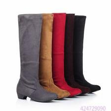 2016 New Womens Ladies Low Heel Skid Proof Knee High Boots Shoes US Size