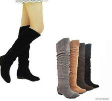 2016 Womens Ladies Stretch Comfort Low Heel Knee High Boots Shoes US4-10.5