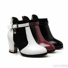 2016 Ladies Womens High Square Heel Belt Bckle Zipper Ankle Boots Shoes US Size