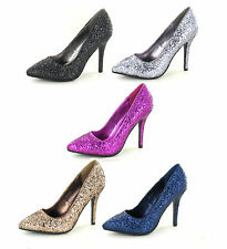 SALE LADIES SPOT ON SLIM HIGH HEEL POINTED TOE GLITTER COURT SHOES F9666