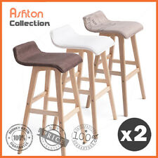 2x Wooden Bar Stools Kitchen Dining Chairs Leather Plywood White Green