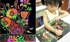 10Sheet 16K Colorful Scratch Art Paper Magic Painting Paper with Drawing Stick