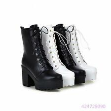 New Womens Ladies High Square Heel Lace UP Mid Calf Punk Boots Shoes Large Size
