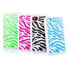 Combo Hard Soft Silicone Armor Zebra Pattern Case Cover For Apple iPhone 4 4S
