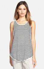 Eileen Fisher Linen Crepe Stripe Scoop Neck Long Tank, White/Blk, XS, S,  NWT