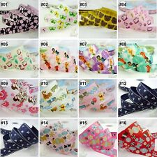 """3/8""""--1"""" 9MM--25MM Mixed Cartoon Grosgrain Ribbon Craft 16 Designs For Hairbow"""