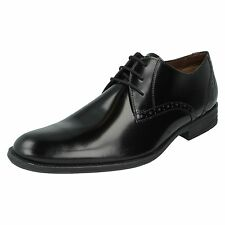HUSH PUPPIES MENS BLACK LEATHER LACE UP FORMAL WIDE FIT WORK SHOES KENSINGTON