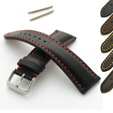 Watch Strap in Genuine Leather Heavy Padded Band Chrome Buckle New Spring Bars