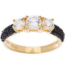 NEW 14K GOLD VERMEIL Pave 3 Stone Black & Clear Dome CZ Band Ring-Bridal 925