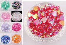 Wholesale 60pcs AB Color Heart Shaped Acrylic Spacer Beads Charms Jewelry Making