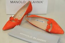 New Manolo Blahnik Florita 50 Orange Suede Shoes bb Kitten Heels Flower Pumps 36
