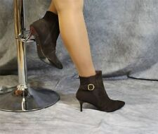 lightweight dark brown Suede Ankle Boots with Stretch wedge from Patrizia Dini