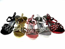 Girls Strappy Rhinestones Heels Pageant Shoes Black Gold Pink Red Silver Sz 9-4
