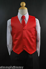 Children Toddler RED SATIN VEST TIE Boy Suit Tuxedo Sz 2T 3T 4T 5 6 7 8 10 12 14