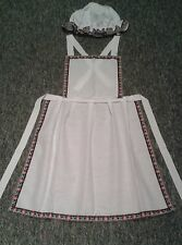 LADIES VICTORIAN TUDOR WENCH MAID APRON AND MOP CAP FANCY DRESS COSTUME (AL1)