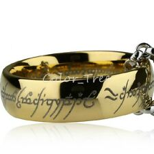 8mm LOTR Band Tungsten Lord of Rings Gold Plated Carbide Jewel Collection Chain