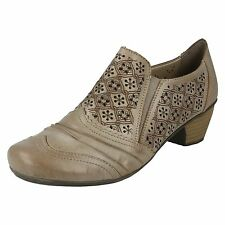 LADIES RIEKER SLIP ON BEIGE LEATHER LASER CUT BLOCK HEEL COURT SHOES 41735-62